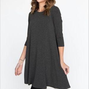 3/4 Length Sleeve Swing Tunic-Dark Gray-XXS *B194N